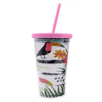 Vaso de PVC flamencos